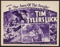 """Tim Tyler's Luck (Universal, 1937). Title Lobby Card (11"""" X 14"""") Chapter 6 --""""The Jaws of the Jungle.&quo..."""