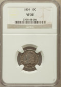 Bust Dimes: , 1834 10C Small 4 VF35 NGC. NGC Census: (6/271). PCGS Population(4/176). Mintage: 635,000. Numismedia Wsl. Price for proble...