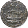 Colonials, 1778-1779 TOKEN Rhode Island Ship Token, Wreath Below, Copper AU58PCGS. CAC. Breen-1141, W-1740, R.4....