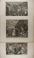 Books:Prints & Leaves, William Hogarth. Group of Three Engraved Prints. 1735. Approx. 19 x 24.75 inches. Some offsetting and light wear to margins,...