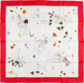 """Luxury Accessories:Accessories, Hermes Red and White """"Des Fleurs Pour Le Dire,"""" by Leigh P. CookeSilk Scarf. ..."""