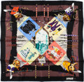 "Luxury Accessories:Accessories, Hermes Black, Blue, and Brown ""Carnaval De Venise,"" by Hubert DeWatrigant Silk Scarf. ..."