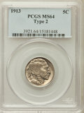 Buffalo Nickels: , 1913 5C Type Two MS64 PCGS. PCGS Population (1032/744). NGC Census:(702/393). Mintage: 29,858,700. Numismedia Wsl. Price f...