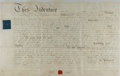Autographs:Statesmen, [Legal]. Indenture of Lease, 27 September, 1816. Outlines the termsof lease between Richard Jones and William Owen. Origina...