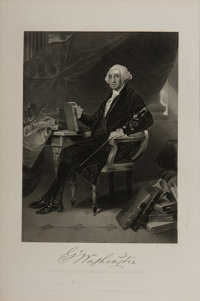 [Engraving]. Alonzo Chappel. Engraving of George Washington. Ca. 1863. 7 x 10.5 inches. Lightly toned. Some small sta