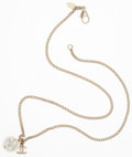 Luxury Accessories:Accessories, Chanel Gold Necklace with Faux Pearl Charm and CC . ...