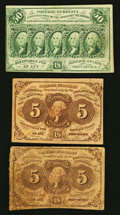Fractional Currency:First Issue, Fr. 1230 5¢ First Issue Two Examples Fine. Fr. 1312 50¢ First Issue VF.. ... (Total: 3 notes)