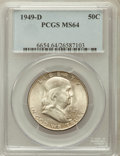 Franklin Half Dollars: , 1949-D 50C MS64 PCGS. PCGS Population (537/53). NGC Census:(616/109). Mintage: 4,120,600. Numismedia Wsl. Price for proble...