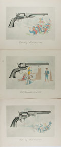 Art:Illustration Art - Mainstream, Lot of Three Hand-Colored Illustrations Featuring Military Weapons.13.75 x 10.75 inches. Nd. One closed tear. Small marking...