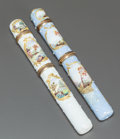 Ceramics & Porcelain, TWO ENGLISH ENAMELED METAL NEEDLE CASES. 19th century. 5-3/8 inches long (13.7 cm) (longer). ... (Total: 2 Items)