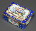 Decorative Arts, Continental, A CONTINENTAL ENAMELED METAL LIDDED BOX. 19th century . 1-3/4 x3-1/2 x 2-3/4 inches (4.4 x 8.9 x 7.0 cm). ...