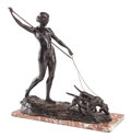 Bronze:European, AN ART DECO PATINATED BRONZE STATUE ON MARBLE BASE: DIANA THEHUNTRESS. 20th century. Marks: Maugsch, 1926, ont La...