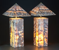 A PAIR OF ONYX TABLE LAMPS WITH PYRAMIDAL SHADES 20th century 24-1/2 inches high (62.2 cm) (with shade)