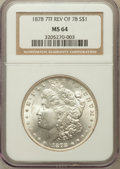 Morgan Dollars: , 1878 7TF $1 Reverse of 1878 MS64 NGC. NGC Census: (3500/501). PCGSPopulation (2534/512). Mintage: 4,900,000. Numismedia Ws...