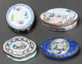 Decorative Arts, British, FOUR ENGLISH ENAMELED METAL AND GILT BRONZE MOUNTED SNUFF BOXES. 19th century. 1 inch high x 1-3/4 inches diameter (2.5 x 4.... (Total: 4 Items)