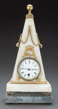Decorative Arts, Continental, AN EMPIRE-STYLE WHITE MARBLE AND GILT BRONZE MOUNTED TRIANGULARCLOCK ON GRAY MARBLE BASE. 20th century. 15-1/2 inches high ...