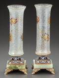 Art Glass:Other , A PAIR OF FRENCH ENAMELED GLASS VASES ON FIXED ONYX AND GILTENAMELED BRONZE STANDS . Early 20th century. Marks:Déposé... (Total: 2 Items)