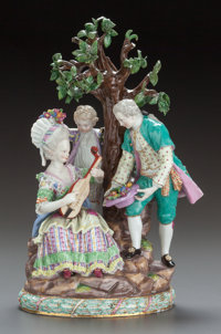 A MEISSEN FIGURAL GROUP: COURTING COUPLE AND A CHILD Circa 1900 Marks: (crossed swords in