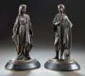 Bronze, A PAIR OF FRENCH PATINATED BRONZE MAIDENS . 19th century. 15-1/2 inches high (39.4 cm). ... (Total: 2 Items)