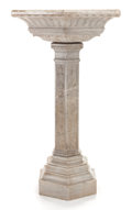 Marble, A MARBLE HEXAGONAL BIRD BATH. 20th century. 47-1/2 inches high(120.7 cm). ...
