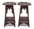 Furniture , A PAIR OF MOROCCAN CARVED MAHOGANY AND MOTHER-OF-PEARL INLAID STANDS. Early 20th century. 27-1/2 inches high (69.9 cm). ... (Total: 2 Items)
