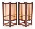 Asian:Japanese, A PAIR OF JAPANESE WOOD AND FABRIC OVER GLASS LANTERNS. Late 20thcentury. 23-1/4 inches high (59.1 cm). ... (Total: 2 Items)