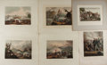 Art:Illustration Art - Mainstream, [Engravings]. Group of Six Original Hand Painted EngravingsDepicting Military Scenes. 1808-1815. Rich color. One tipped in ...
