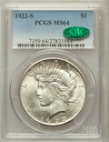 Peace Dollars: , 1922-S $1 MS64 PCGS. CAC. PCGS Population (1839/308). NGC Census:(1775/279). Mintage: 17,475,000. Numismedia Wsl. Price fo...