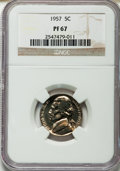 Proof Jefferson Nickels: , 1957 5C PR67 NGC. NGC Census: (926/795). PCGS Population (575/113).Mintage: 1,247,952. Numismedia Wsl. Price for problem f...