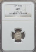 Seated Half Dimes: , 1870 H10C AU55 NGC. NGC Census: (8/240). PCGS Population (10/195). Mintage: 535,000. Numismedia Wsl. Price for problem free...