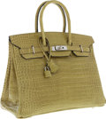 Luxury Accessories:Bags, Hermes 35cm Shiny Vert Anis Porosus Crocodile Birkin Bag withPalladium Hardware. ...