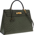 Luxury Accessories:Bags, Hermes 35cm Vert Olive Ostrich Sellier Kelly Bag with Gold Hardware. ...
