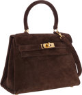 Luxury Accessories:Bags, Hermes 20cm Chocolate Veau Doblis Suede Mini Kelly Bag with GoldHardware. ...