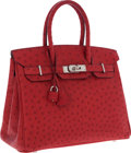 Luxury Accessories:Bags, Hermes 30cm Rouge Vif Ostrich Birkin Bag with Palladium Hardware....