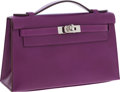 Luxury Accessories:Bags, Hermes Violet Tadelakt Leather Kelly Pochette Bag with PalladiumHardware. ...