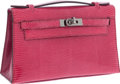Luxury Accessories:Bags, Hermes Fuschia Lizard Kelly Pochette Bag with Ruthenium Hardware....