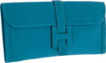 Luxury Accessories:Bags, Hermes Turquoise Chevre Leather Jige Elan H Clutch Bag. ...