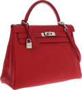Luxury Accessories:Bags, Hermes 32cm Rouge Vif Togo Leather Retourne Kelly Bag with Palladium Hardware. ...