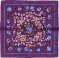 "Luxury Accessories:Accessories, Hermes Dark Purple & Blue ""Jardins D'Eden,"" by Annie Faivre Silk Pochette Scarf. ..."