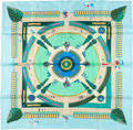"Luxury Accessories:Accessories, Hermes Light Blue & Green ""Jardin Enchante,"" by LjubomirMilinkov Silk Scarf. ..."