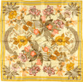 "Luxury Accessories:Accessories, Hermes Yellow & Olive ""Fleurs d'Hellade,"" by Niki GoulandrisSilk Scarf. ..."