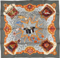 "Luxury Accessories:Accessories, Hermes Gray & Orange ""La Magie,"" By Claudia Stuhlhofer-MayrSilk Scarf. ..."