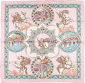 "Luxury Accessories:Accessories, Hermes Pink & Brown ""Triomphe du Paladin,"" by Julia Abadie SilkScarf. ..."