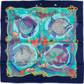 "Luxury Accessories:Accessories, Hermes Navy & Teal ""Grands Fonds,"" by Annie Faivre Silk Scarf...."