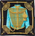 "Luxury Accessories:Accessories, Hermes Black, Teal & Gold ""Brandebourgs,"" by Caty Latham Silk Scarf. ..."