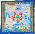 """Luxury Accessories:Accessories, Hermes Blue & Olive """"Marine Naive, Henry F. Smith Sailor,"""" by Philippe Dumas Cotton Scarf. ..."""