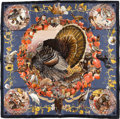 "Luxury Accessories:Accessories, Hermes Blue, Red & Brown ""Faune et Flore du Texas,"" by KermitOliver Silk Scarf. ..."