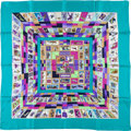 "Luxury Accessories:Accessories, Hermes Turquoise, Green & Purple ""Correspondance,"" by Caty Latham Silk Scarf. ..."