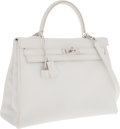 Luxury Accessories:Bags, Hermes 35cm White Clemence Leather Retourne Kelly Bag withPalladium Hardware. ...