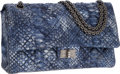 Luxury Accessories:Bags, Chanel Blue Metallic Python Jumbo Double Flap Bag with BrushedSilver Hardware. ...
